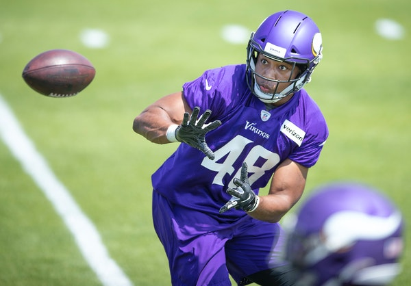 Khari Blasingame, a former Vanderbilt player trying to make the Vikings as a fullback after playing defense in college, has been plugged into many sit
