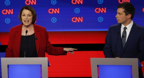 Sen. Amy Klobuchar, D-Minn., and South Bend Mayor Pete Buttigieg participate in the first of two Democratic presidential primary debates hosted by CNN