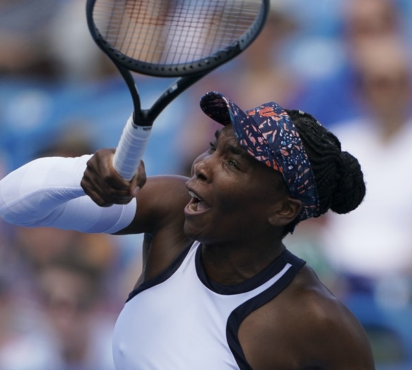 LOOK OF A WINNER: Venus Williams hammered a shot back at Donna Vekic as Williams moved toward victory in the Western & Southern Open in Ohio. , of Cro