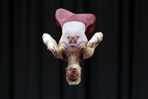 Shane Wiskus competes on the horizontal bar at the U.S. Gymnastics Championships on Saturday in Kansas City
