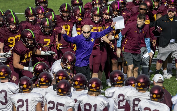 Gophers head coach P.J. Fleck during a tackling drill. The Gophers held a practice at TCO Performance Center, home of the Minnesota Vikings.