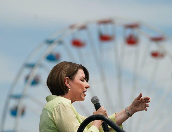 Sen. Amy Klobuchar spoke at the Des Moines Register's Political Soapbox at the Iowa State Fair.