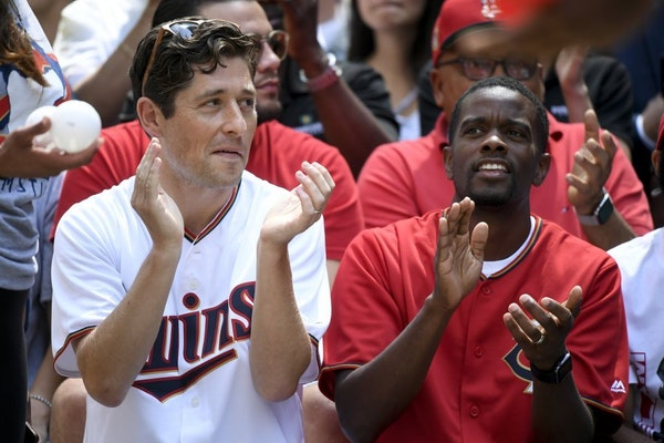 Twin Cities mayors Jacob Frey, of Minneapolis, and Melvin Carter, of St. Paul, watched the Twins play whiffle ball Tuesday on Nicollet Mall in July.