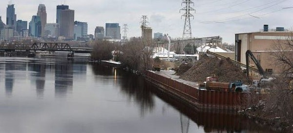 The Northern Metal Recycling facility, located on the Mississippi River just south of the Lowry Avenue Bridge in Minneapolis.