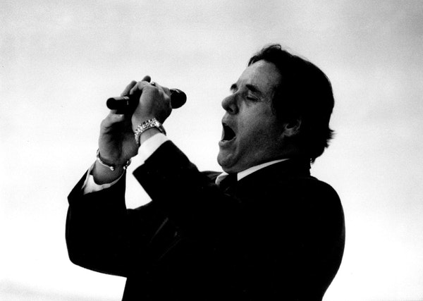 Jim Bowers belted out the national anthem at the last North Stars home game at Met Center on April 13, 1993.