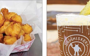 Cheese and pickles make a good pair: Try Cheese Curds with a Dill Pickle Kölsch from Tin Whiskers Brewing.
