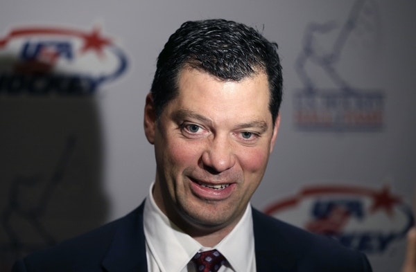 Bill Guerin addressed the media in 2013 before his induction into the U.S. Hockey Hall of Fame in Detroit.