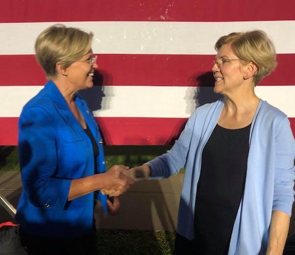 Elizabeth Warren meets her lookalike at Minnesota rally