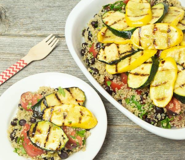 Marinated Grilled Zucchini and Yellow Squash Over Quinoa Salad