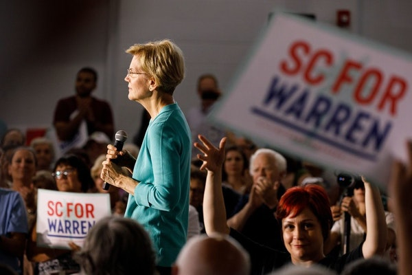 Sen. Elizabeth Warren (D-Mass.), a Democratic presidential hopeful, addressed the crowd during a town hall event in Aiken, S.C., on Saturday.
