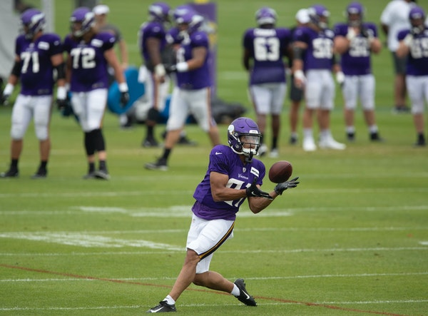 Vikings wide receiver Olabisi Johnson caught a ball during practice at TCO Performance Center
