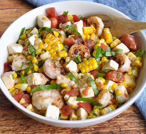 Grilled Shrimp and Corn Caprese Salad