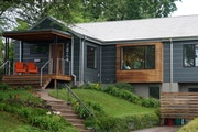 The front view of homeowners Steph Walters and Ryan McGary's remodeled rambler home in St. Louis Park.