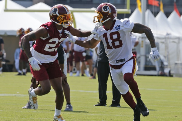 Josh Doctson (18) in Redskins training camp on July 26.