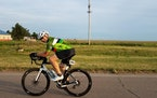 Thomas Niccum, 62 moved down the road during the the Ride Across America.