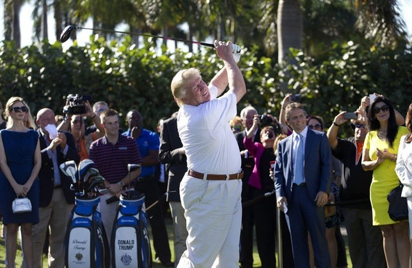 Donald Trump hit a ceremonial tee shot off the first tee at Trump National Doral in 2014. Trump says his Florida golf resort could host next G-7 summi