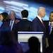 Democratic presidential candidates former Vice President Joe Biden, former Housing and Urban Development Secretary Julian Castro, and Andrew Yang, rig