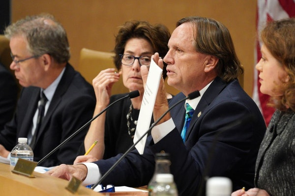 Sen. Jim Abeler, R-Anoka, questioned new Department of Human Services Commissioner Jodi Harpstead in September. Abeler said it's unfair to ask the c