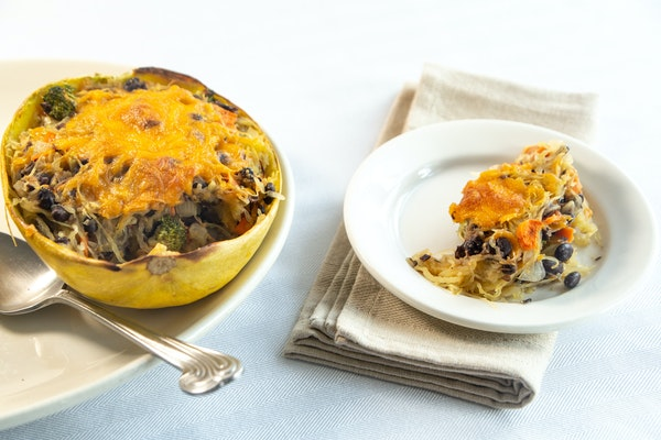 Spaghetti Squash Stuffed With Black Beans and Cheddar ROBIN ASBELL • Special to the Star Tribune