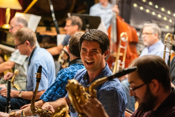 Tenor saxophone player Joe Mayo played with Explosion Big Band on a recent evening at Jazz Central in northeast Minneapolis. The ensemble is one of fo
