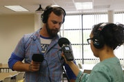"""Student producers Marko Milosevic and Tanita Cronk worked on the """"Finding Your Place"""" podcast, an effort to help new arrivals to campus."""
