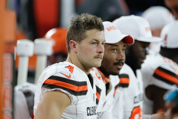 Britton Colquitt, with the Browns earlier this preseason.