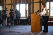 Duluth Chief of Police Mike Tusken spoke to members of the press in Duluth City Hall on Sunday. He discussed the arrest of a suspect and the details r
