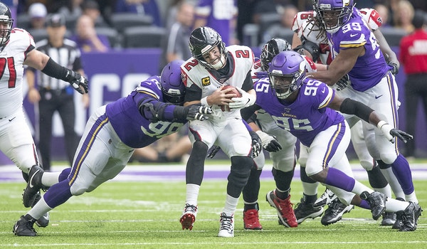 Vikings defensive tackle Linval Joseph tackled Falcons quarterback Matt Ryan for a sack during the fourth quarter last week at U.S. Bank Stadium.