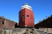 Duluth's William A. Irvin museum ship sat in dry dock at Fraser Shipyards in Superior, Wis. Metal-eating bacteria had gorged not only on its hull, b