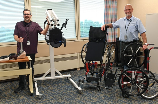 Engineer Andrew Hansen, left, and Dr. Gary Goldish have created a hub of medical device innovation at the Minneapolis Veterans Medical Center.