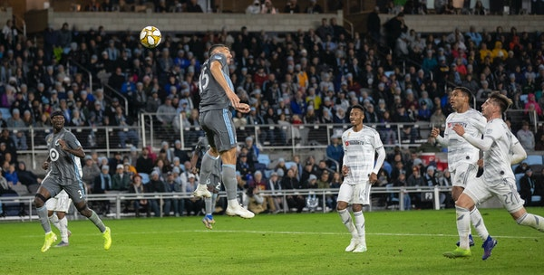 Loons defender Michael Boxall scored the tying goal in the second half at Allianz Field.