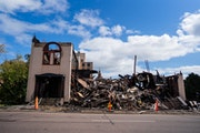 Little remained of Duluth's Adas Israel Congregation on Tuesday after the synagogue was gutted by fire early Monday morning.
