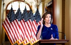 House Speaker Nancy Pelosi (D-Calif.) spoke to reporters on Capitol Hill in Washington on Tuesday. Pelosi announced that the House would begin a forma