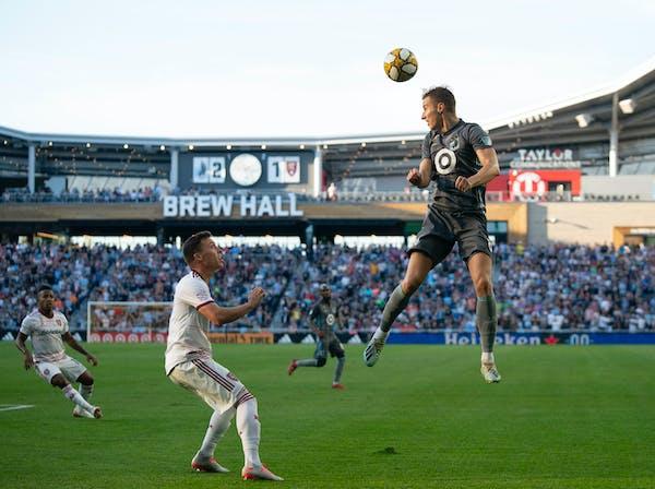 Loons midfielder Jan Gregus headed the ball towards a teammate over Real Salt Lake