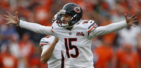 Bears kicker Eddy Pineiro, who beat out about 20 other candidates for the job, celebrated after making a 53-yard, game-winning field goal against Denv