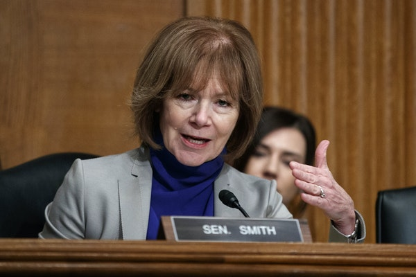 In this March 5 photo, Sen. Tina Smith, D-Minn., speaks during a Senate Committee on Health, Education, Labor, and Pensions hearing on Capitol Hill in