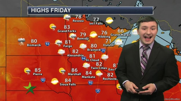 Afternoon forecast: Humid with scattered storms, high 82