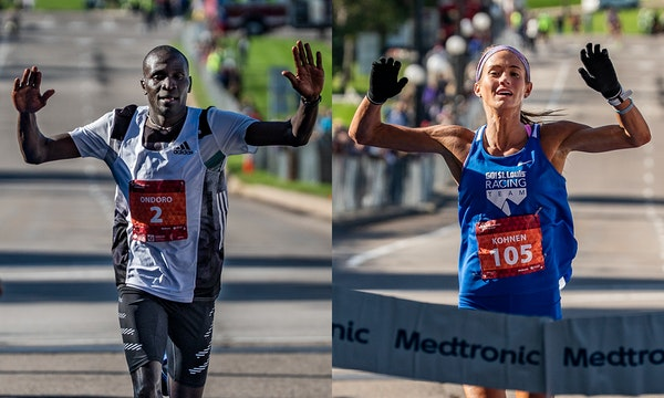 Dominic Ondoro finished in first place in the men's category for the Twin Cities Marathon on Sunday, Oct. 6, 2019, in a time of 2:12:23. Julia Kohnen