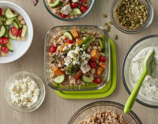 Mediterranean Chicken, Roasted Vegetables and Farro Bowls