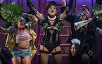 """Gracie Anderson, center, as Frank-N-Furter in """"The Rocky Horror Show"""" at Park Square Theatre."""