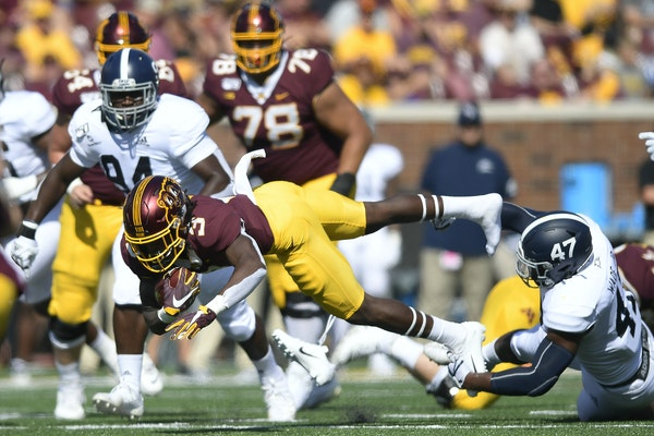 Gophers freshman running back Cam Wiley (3) got his first carries of the season in Saturday's 35-32 win over Georgia Southern.