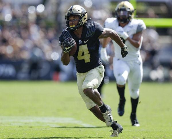 Purdue receiver Rondale Moore led the Big Ten with 114 catches for 1,258 yards and 12 touchdowns last year as a freshman, but he can be a game-breaker