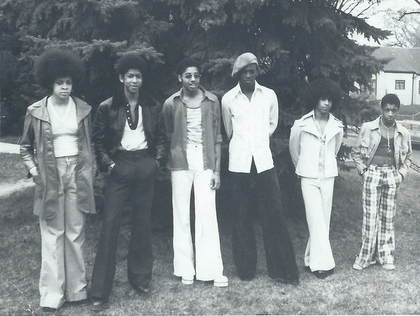 """Linda Anderson, Andre Cymone, Morris Day, Terry Jackson, Prince and William """"Hollywood"""" Doughty of Grand Central Band in the mid-1970s. The photo"""