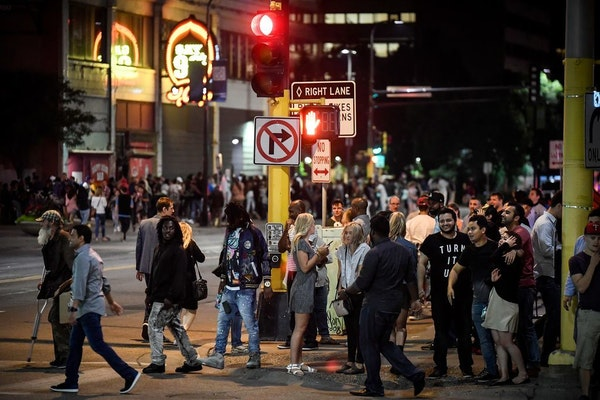 Hennepin Avenue is a popular destination for visitors during most weekends.