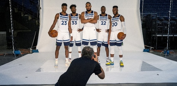 From left to right, Jarrett Culver, Robert Covington, Karl-Anthony Towns, Andrew Wiggins and Josh Okogie posed for team photographer David Sherman on