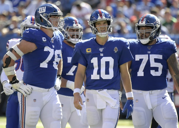Giants quarterback Eli Manning (10) was benched in favor of more mobile rookie Daniel Jones after New York lost its first two games. Jones is 2-0 as a