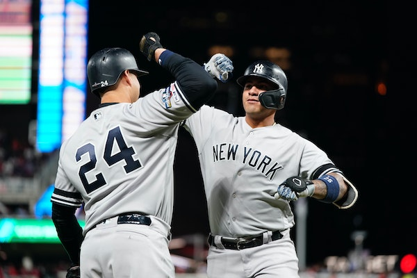 The Yankees' Gleyber Torres, right, celebrated with teammate Gary Sanchez after Torres belted a home run in the second inning of Game 3 on Monday nigh