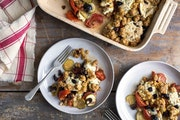A tomato and zucchini casserole in New York, June 2017. A potluck host is like a choreographer whose role is to create a dance rather than a mosh pit,