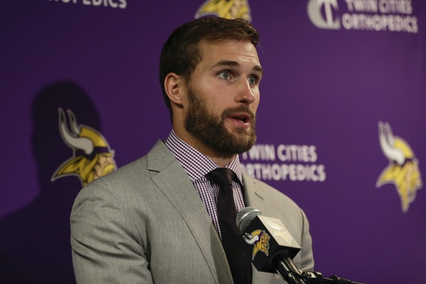Kirk Cousins met with reporters following Sunday's game against the Giants.