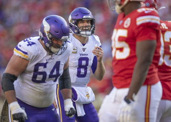 Vikings quarterback Kirk Cousins yelled over a loud Kansas City crowd to call a play in the fourth quarter, when a chance for heroics was missed.